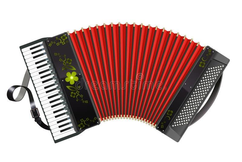 протягиванная чернота аккордеони иллюстрация вектора