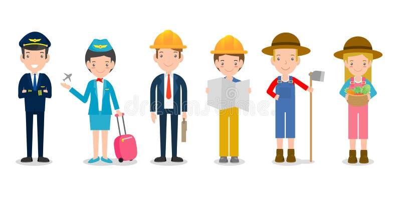 Профессии для людей, комплекта милых профессий для персоны изолированной на белой предпосылке, пилоте, стюардессе, инженерстве, ф иллюстрация вектора