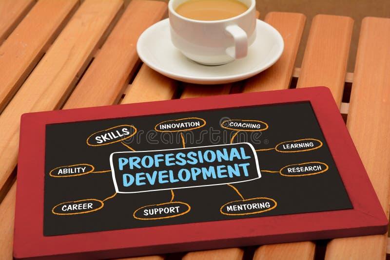 Профессиональная диаграмма развития на доске с чашкой чая стоковое изображение