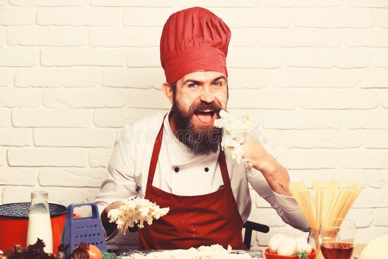 Профессиональная концепция кулинарии Кашевар с голодной счастливой стороной стоковая фотография