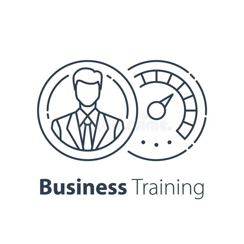 Профессиональная подготовка, управление или управление проектами, стратегия развития карьеры, концепция руководства, обучение или бесплатная иллюстрация