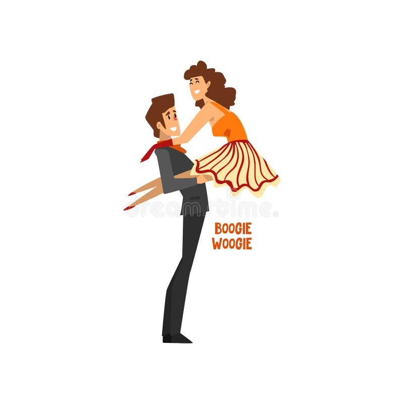 Профессиональное woogie буг танцев пар танцора, пары молодого человека и женщина одели в элегантный выполнять одежды иллюстрация штока