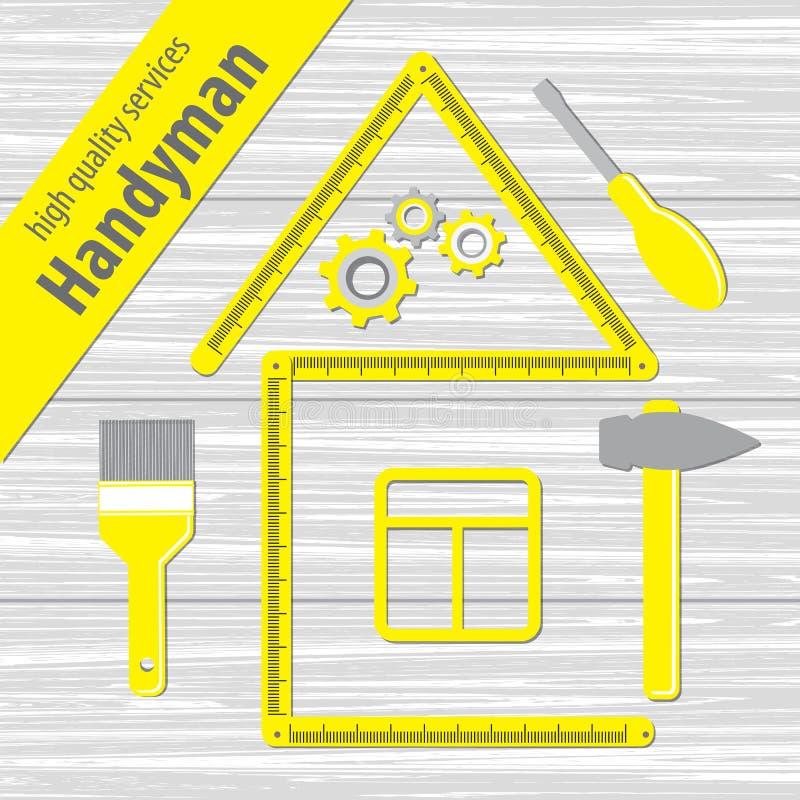 Профессиональные обслуживания разнорабочего Силуэт дома от желтого правителя здания Комплект инструментов ремонта на белой деревя иллюстрация штока