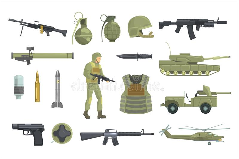 Профессиональные оружия сил пехоты армии, транспорт и оборудование солдата установили реалистических объектов в хаки цвете иллюстрация вектора