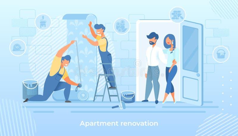 Профессиональные рабочий-строители клеят обои бесплатная иллюстрация