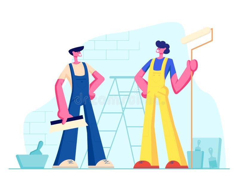 Профессиональные рабочий-строители с инструментами Мужские характеры в равномерных прозодеждах стоя на предпосылке с лестницей, к иллюстрация штока