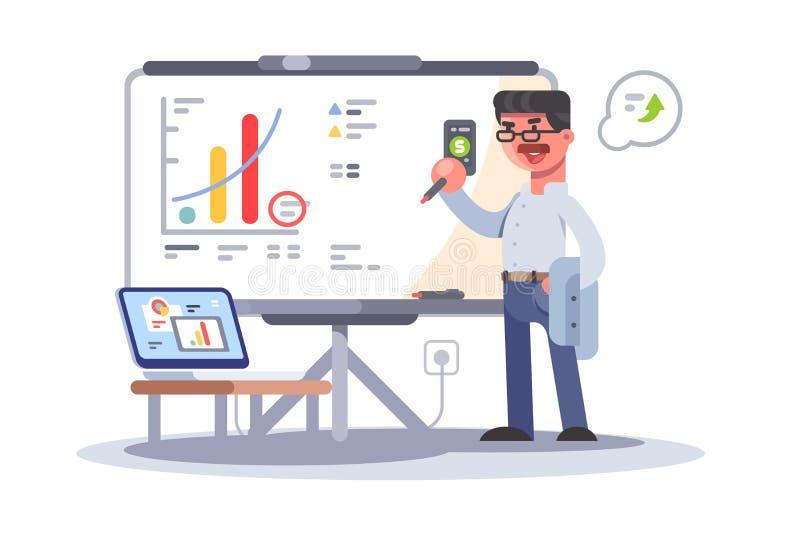 Профессиональный бизнесмен анализируя показ роста бесплатная иллюстрация