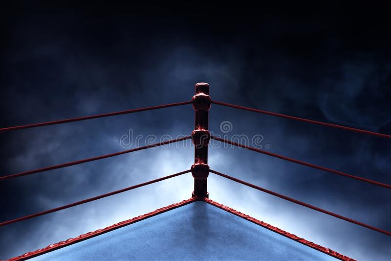 Профессиональный боксерский ринг на предпосылках дыма стоковое изображение rf