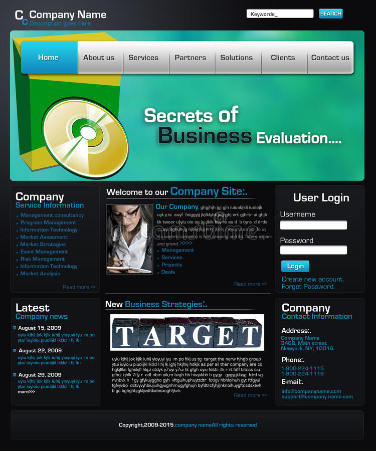 профессиональный вебсайт шаблона иллюстрация вектора