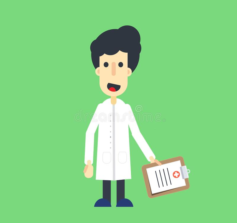 Профессиональный доктор Мультфильм с медицинской доской сзажимом для бумаги стоковая фотография rf
