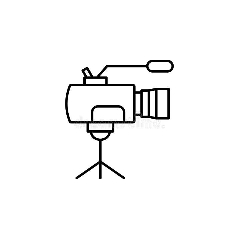 Профессиональный значок видеокамеры Элемент видео- значка плана продуктов для мобильных приложений концепции и сети Тонкая линия  бесплатная иллюстрация