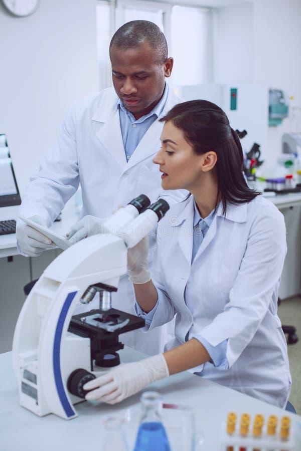 Профессиональный исследователь обсуждая работу с ее коллегой стоковая фотография rf