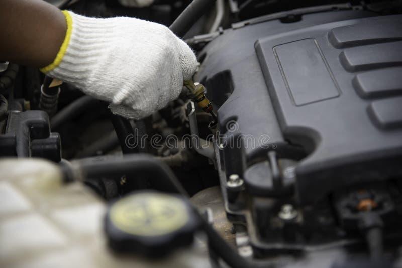 Профессиональный механик проверяет для неисправности двигателя стоковое изображение rf