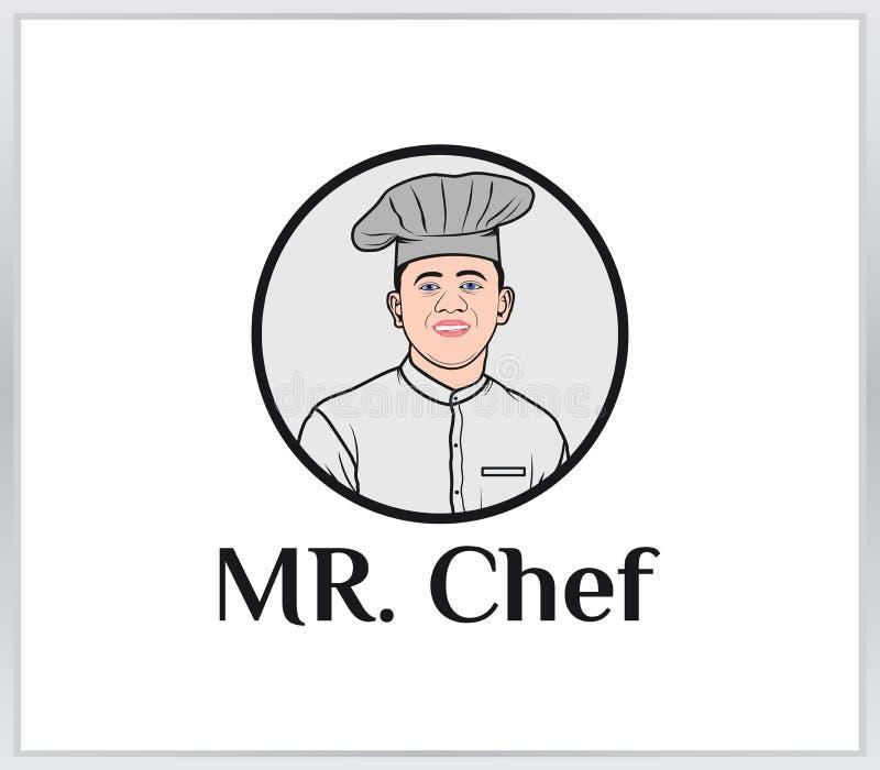 Профессиональный молодой шеф-повар значок шеф-повара стоковое изображение