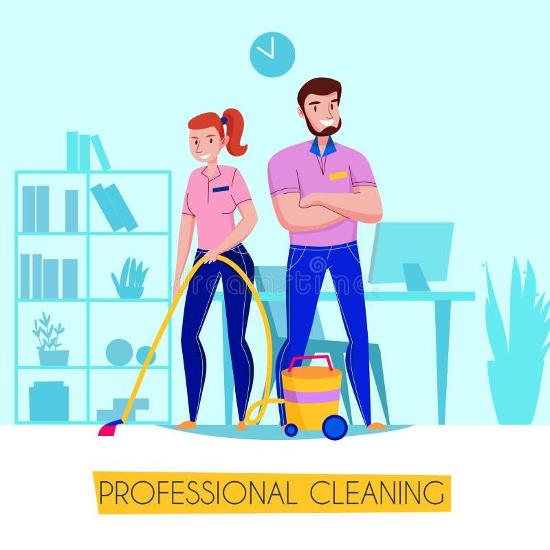 Профессиональный плакат уборки иллюстрация вектора