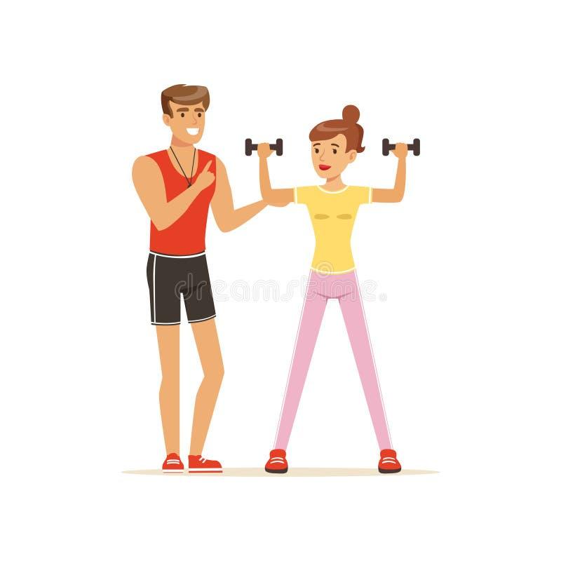 Профессиональный тренер работая с гантелями, люди фитнеса работая под управлением личного вектора тренера иллюстрация штока