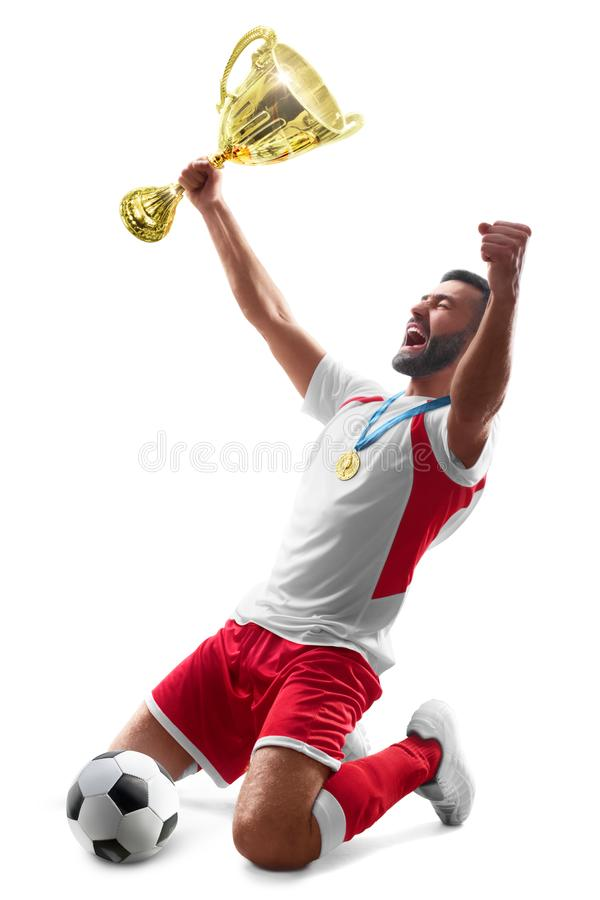 Профессиональный футболист празднует выигрывать Торжество футбола Медаль на шеи белизна изолированная предпосылкой стоковая фотография