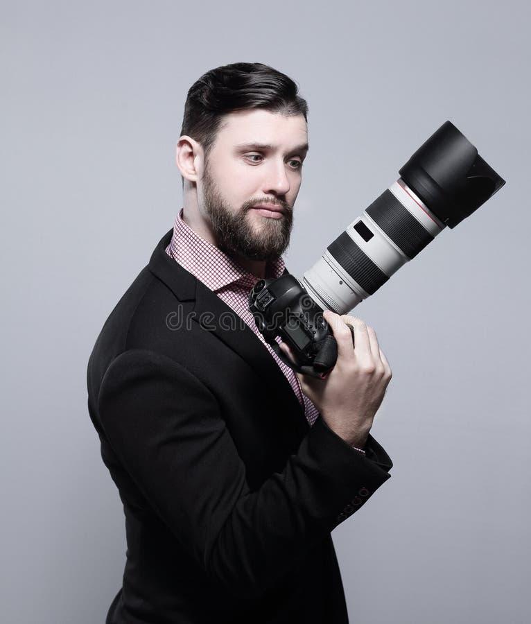 профессионал фотографа камеры цифровой Фото с космосом экземпляра стоковые изображения rf
