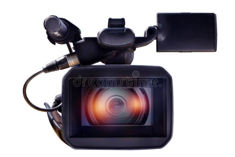 Профессиональная видеокамера на белой предпосылке стоковое изображение