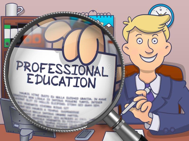 Профессиональное образование через лупу Doodle тип иллюстрация вектора