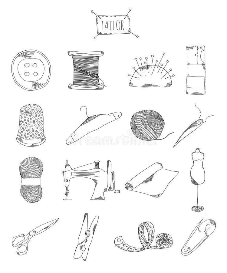 Профессиональное собрание значков и элементов Установленный шить, элементы портноя нарисованные рукой doodles на белой предпосылк иллюстрация штока