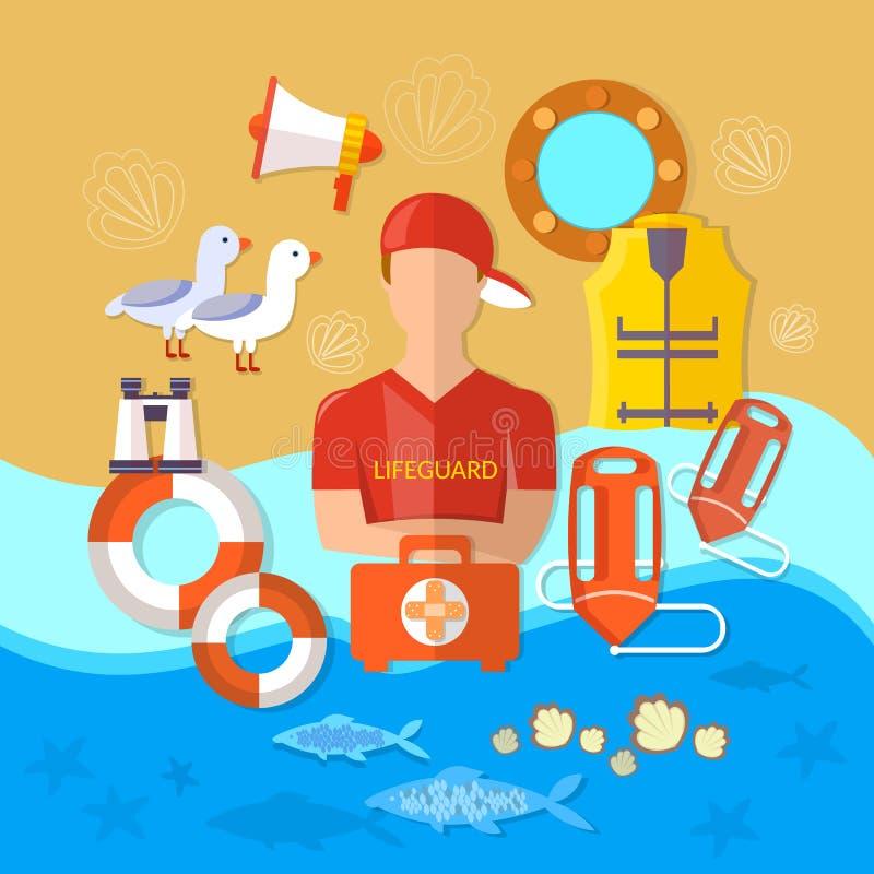 Профессиональный вектор личной охраны пляжа иллюстрация штока