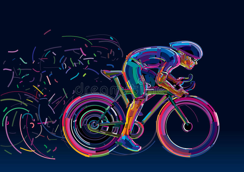 Профессиональный велосипедист, который включили в гонку велосипеда иллюстрация штока