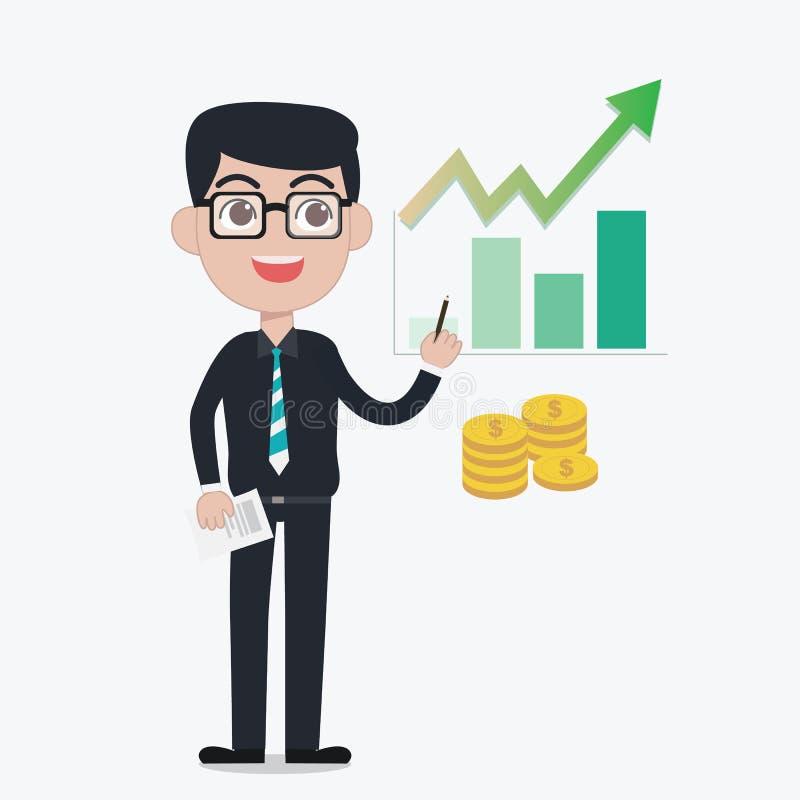 Профессиональный инвестор советует вкладу ростом зеленого цвета пользы бесплатная иллюстрация