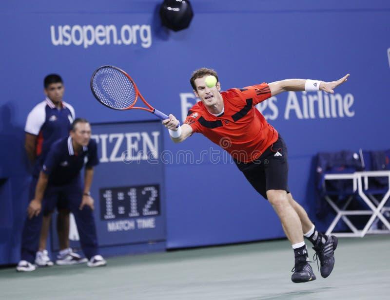 Профессиональный теннисист Марсель Granollers во время четвертой спички круга на США раскрывает 2013 против Novak Djokovic стоковые фотографии rf