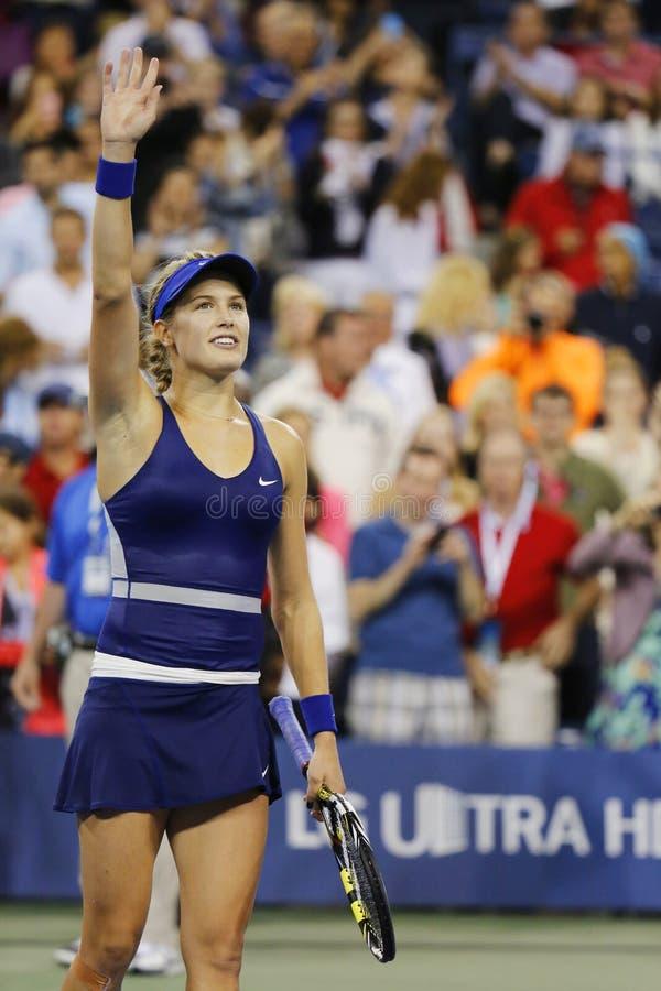Профессиональный теннисист Eugenie Bouchard празднует победу после того как в-третьих марш круга на США раскрывает 2014 стоковая фотография rf