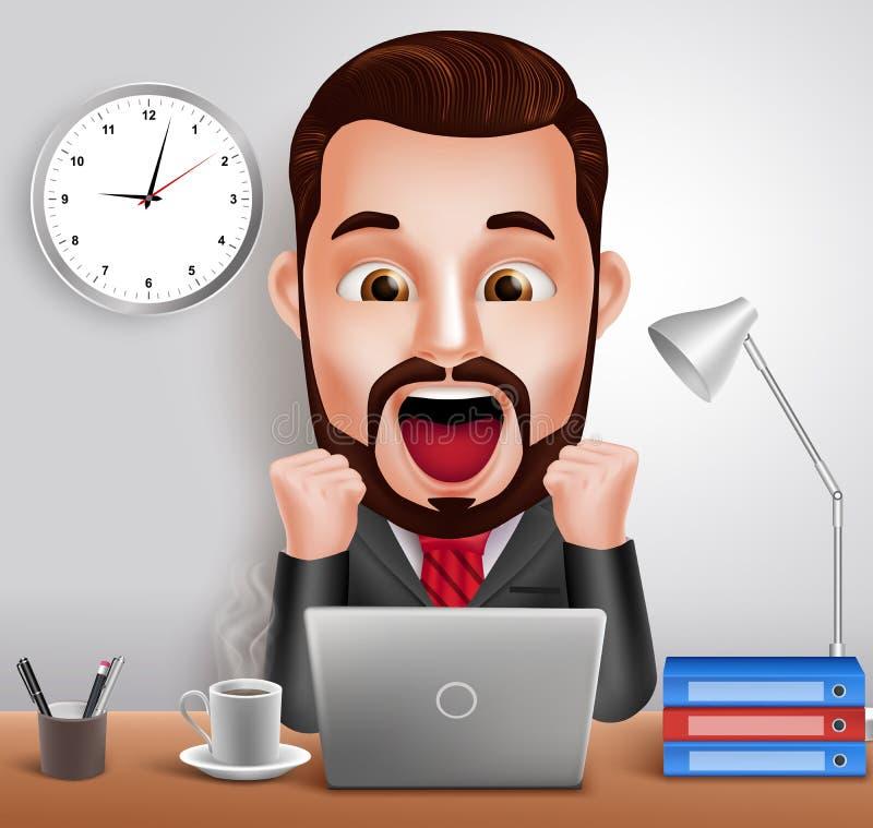 Профессиональный характер вектора бизнесмена при сотрясенное и удивленное выражение работая в столе офиса бесплатная иллюстрация