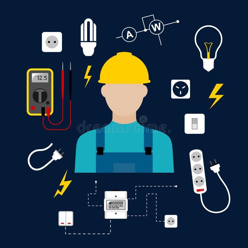 Профессиональный электрик с электрическими инструментами и иллюстрация штока