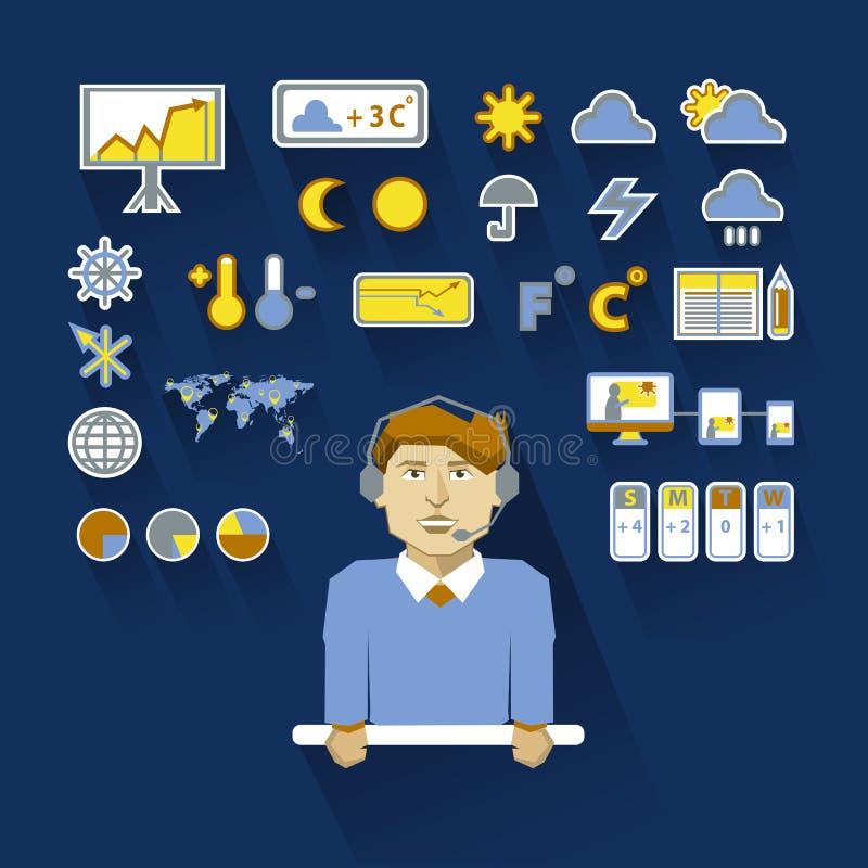 Профессия людей Плоское infographic метеоролог иллюстрация вектора