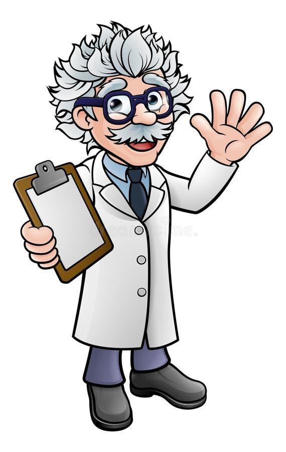 Профессор ученого шаржа с доской сзажимом для бумаги иллюстрация штока