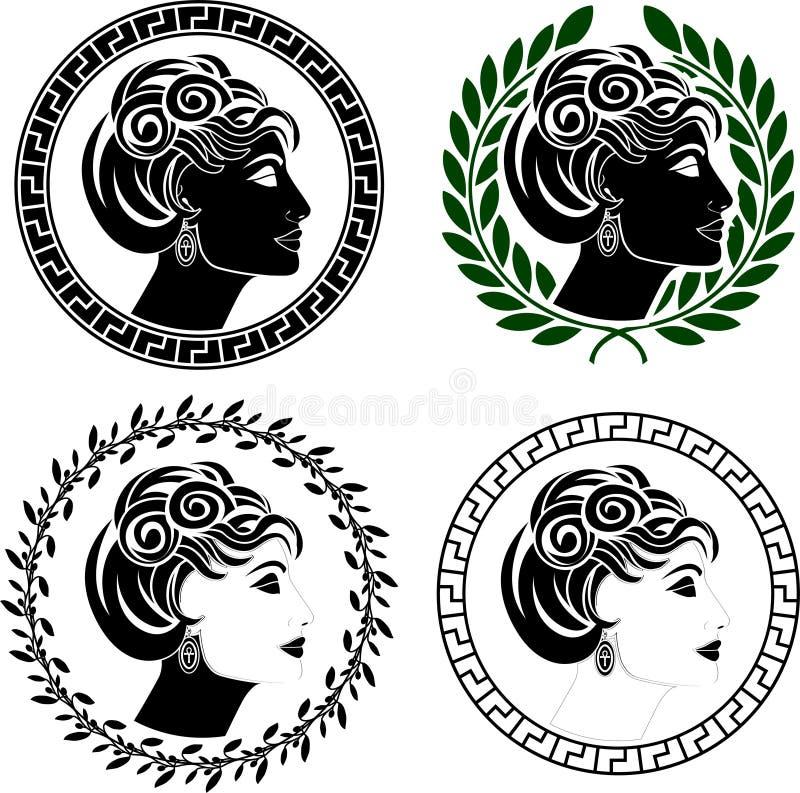 профилирует римскую женщину комплекта иллюстрация вектора