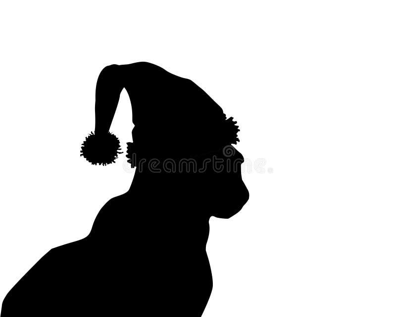 Профилируйте силуэт черного кота в шляпе santa изолированной на белизне иллюстрация штока