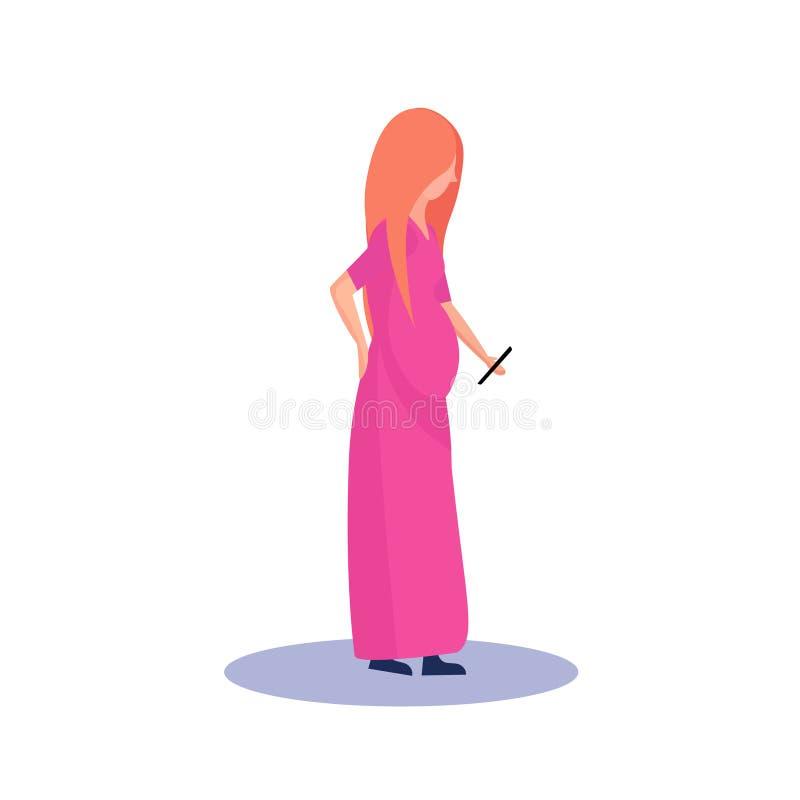 Профиль беременной женщины Redhead изолированный используя персонаж из мультфильма smartphone женский во всю длину плоско бесплатная иллюстрация