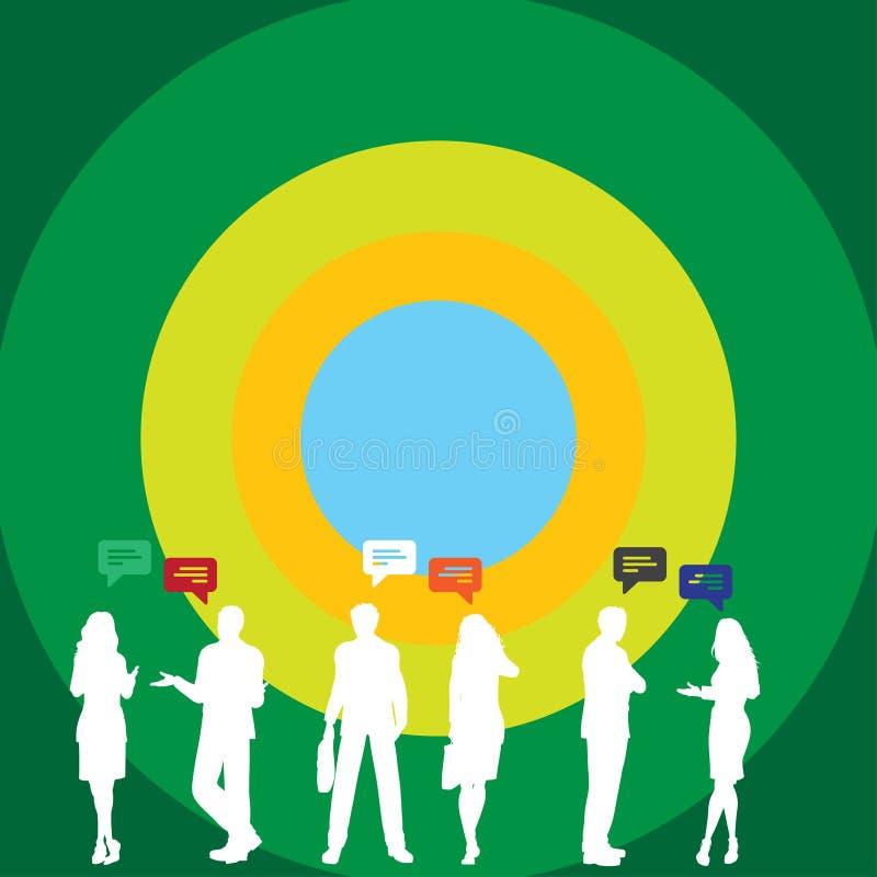 Профиль силуэта вычисляет фото бизнесменов стоя разговаривая с жестами и красочным пузырем речи творческо иллюстрация вектора