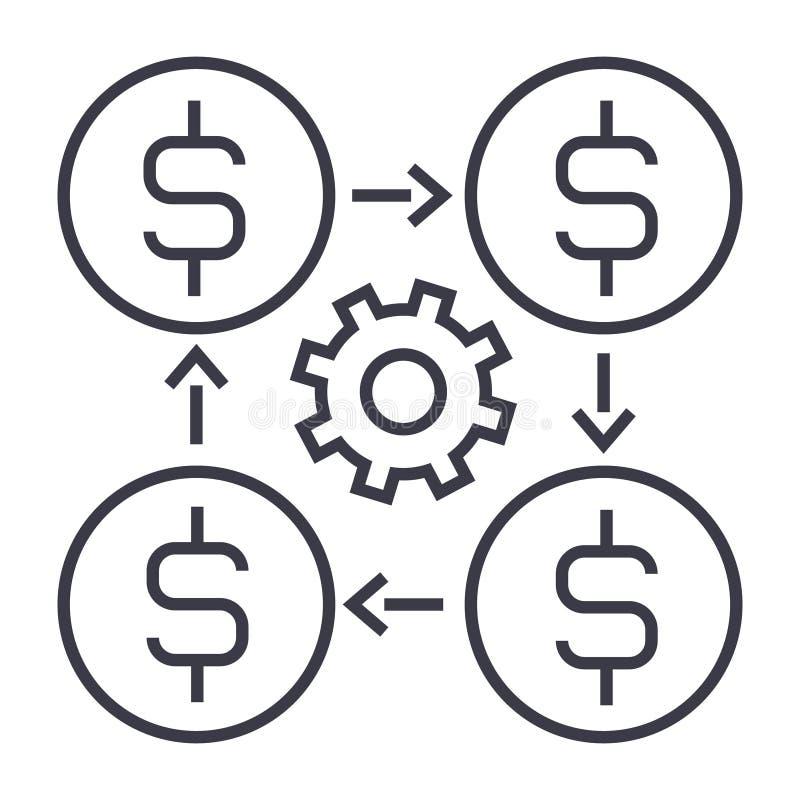 Профинансируйте значок управления линейный, знак, символ, вектор на изолированной предпосылке иллюстрация штока