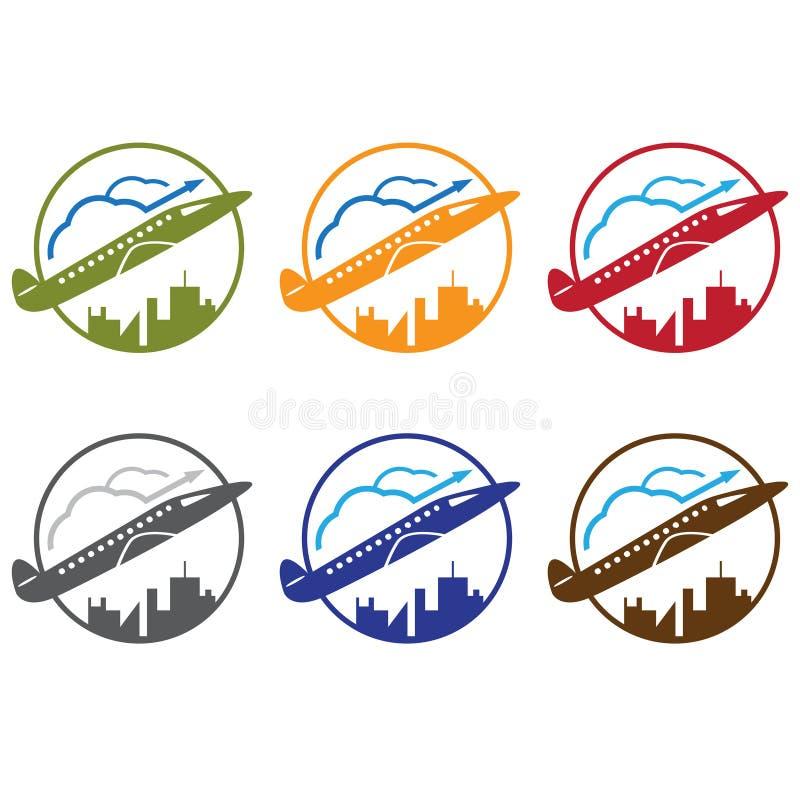 Профинансируйте и путешествуйте городскую концепцию с самолетом, облаками иллюстрация вектора