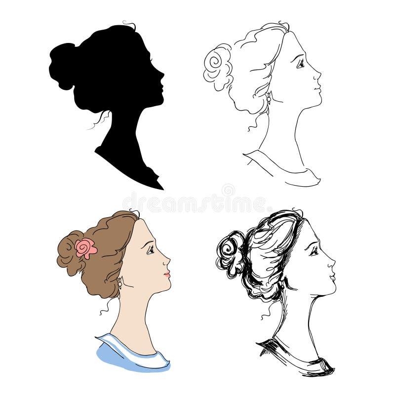 Профили женщины головные иллюстрация вектора