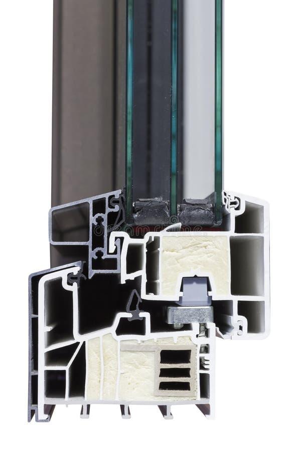 Профиль алюминиевого окна PVC с стеклом и изоляцией стоковая фотография rf
