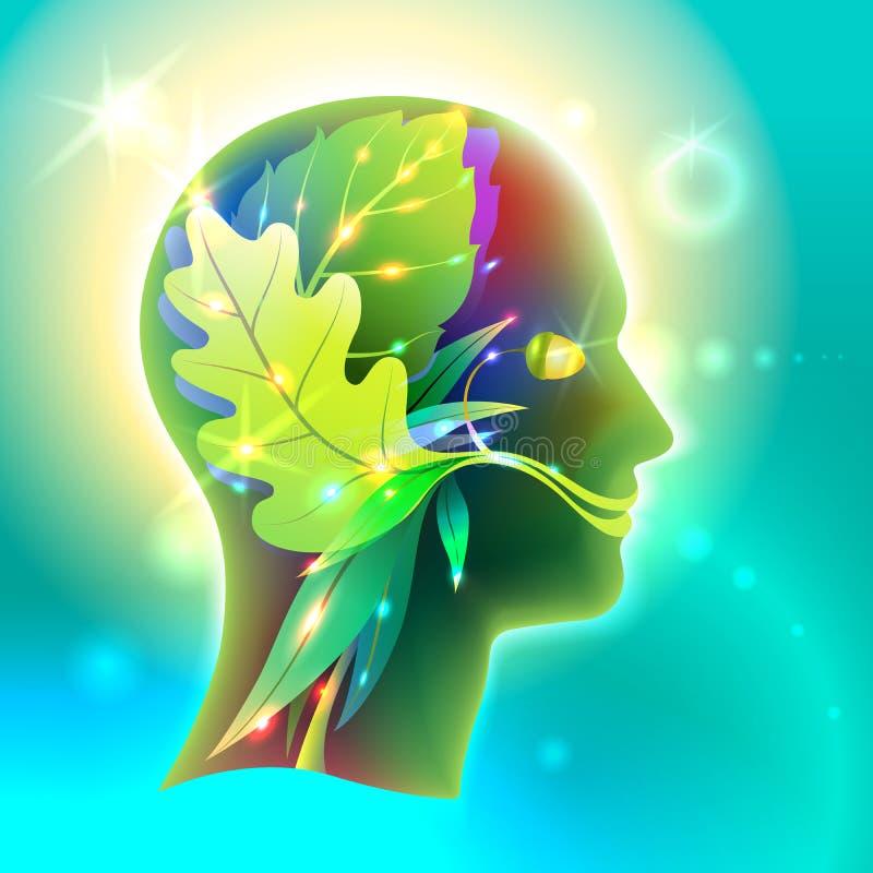 Профиль головы человека как природа иллюстрация штока