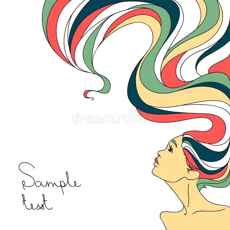 Профиль красивой девушки с длинными волнистыми волосами бесплатная иллюстрация
