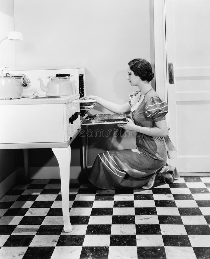 Профиль молодой женщины кладя пирог в печь (все показанные люди более длинные живущие и никакое имущество не существует Wa постав стоковые фото