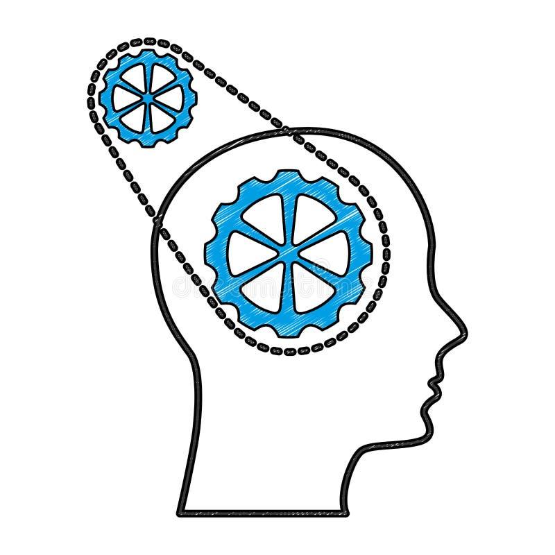 Профиль с цепью и машиной шестерней бесплатная иллюстрация