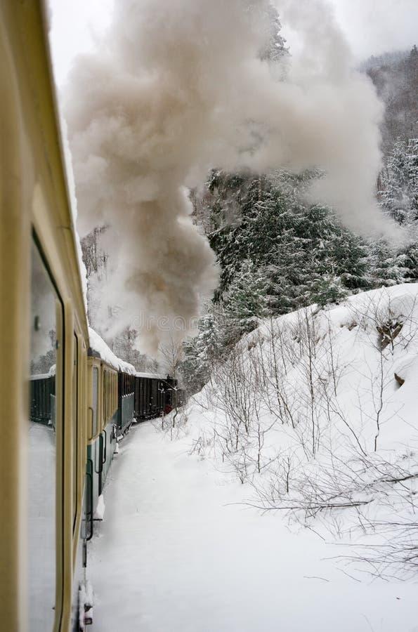 Проходить старым поездом через зиму стоковое фото