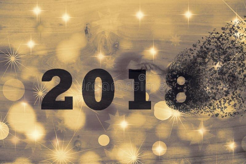 2018 проходит прочь для того чтобы приветствовать Новый Год 2019 2018 ломает в части рассредоточенное действие стоковые изображения