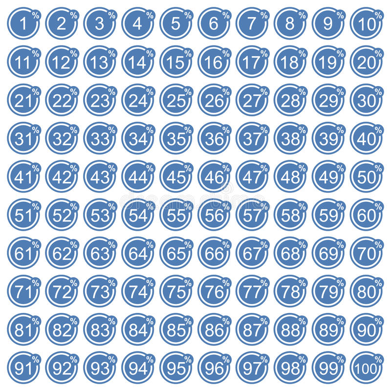 Процента значков комплект сини вполне иллюстрация штока