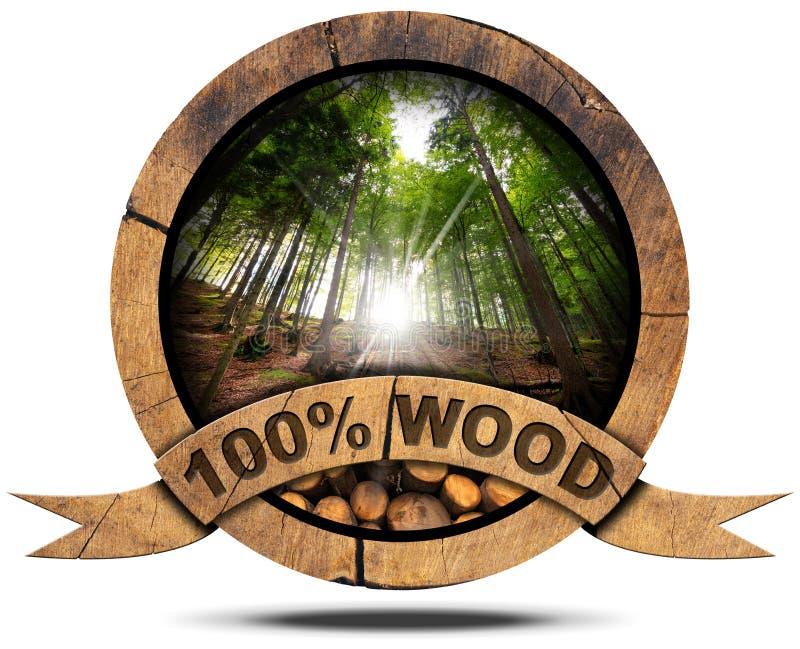 100 процентов древесины - деревянного значка иллюстрация штока